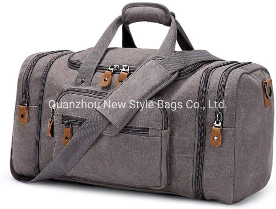 New Style Designs Waterproof Sports Canvas Duffle Bag for Travel, 50L Duffel Overnight Weekend Bag (Gray)