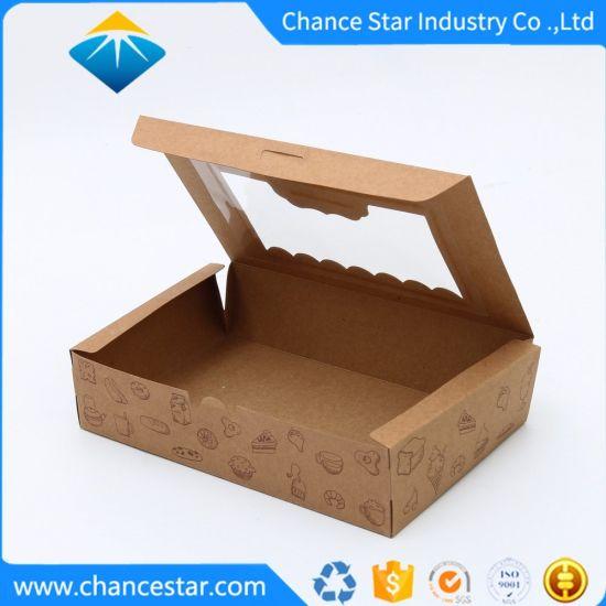 Custom Printed Recycled Kraft Paper Food Box with Window