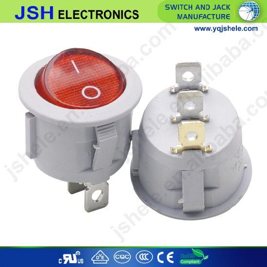 Jsh on off 3 Pin Round Light Rocker Switch
