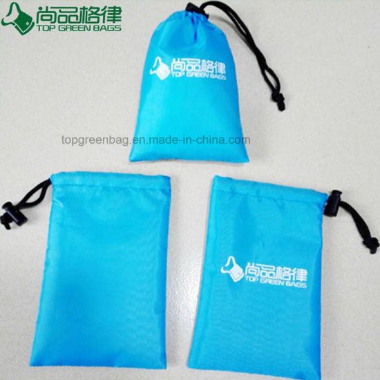 Polyester String Bag Pull Pouch With Spring Fastener Closure