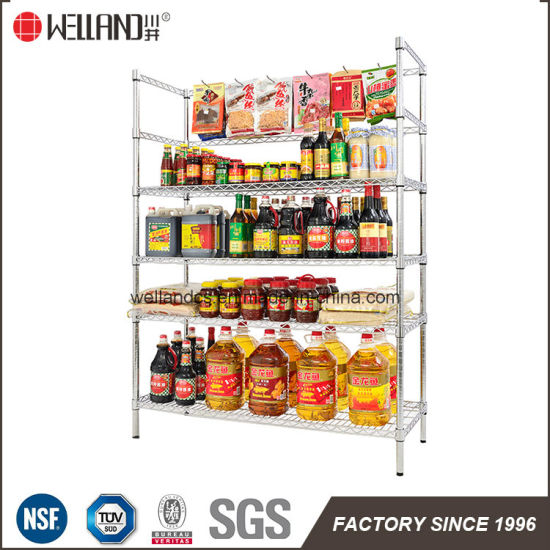 Food Store Shop Display 300kgs Chrome Metal Wire Rack Shelving Factory pictures & photos