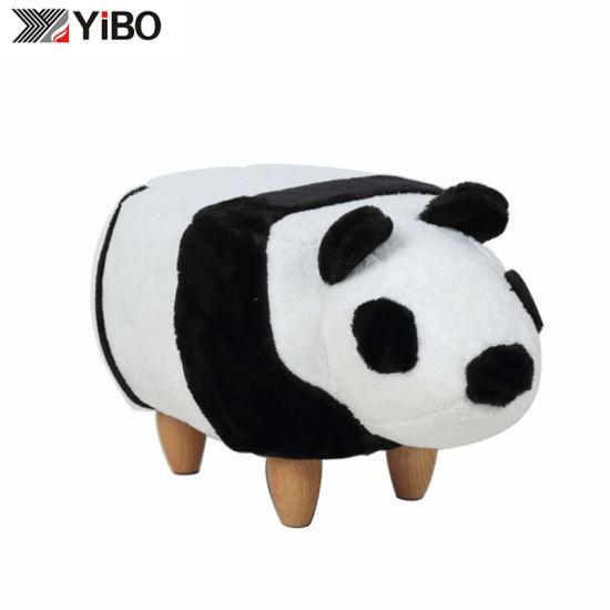 OEM/ODM Panda Shaped Storage Animal Stool Ottoman for Kids