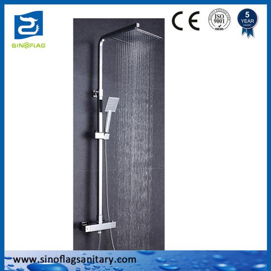 Thermostatic Square Rainfall Shower Tap Set Bathroom Hardware Mixer Set
