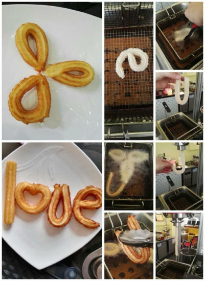 Snack Food Machines Churro Making Machine 3 Liters, High Efficient Churro Machine with Cutter pictures & photos