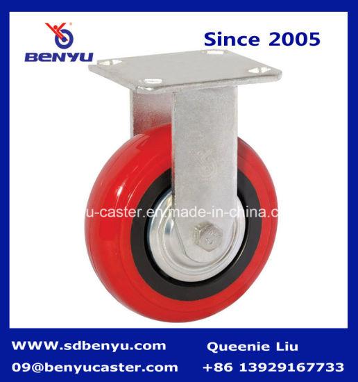 Heavy Duty Rigid Caster with Red Polyurethane Wheel
