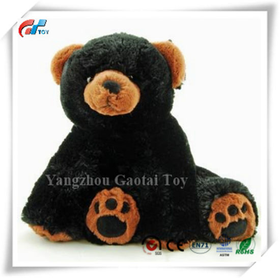 11'' Stand up Super Soft Stuffed Black Bear Plush Toy with Weighted Feet
