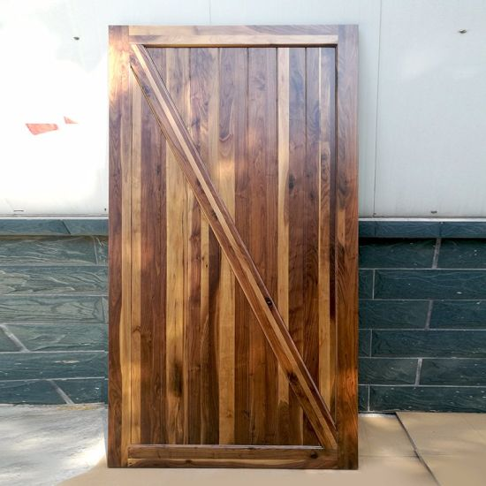 2018 New Product Z Type Solid Wood Sliding Barn Door Made of Black Walnut
