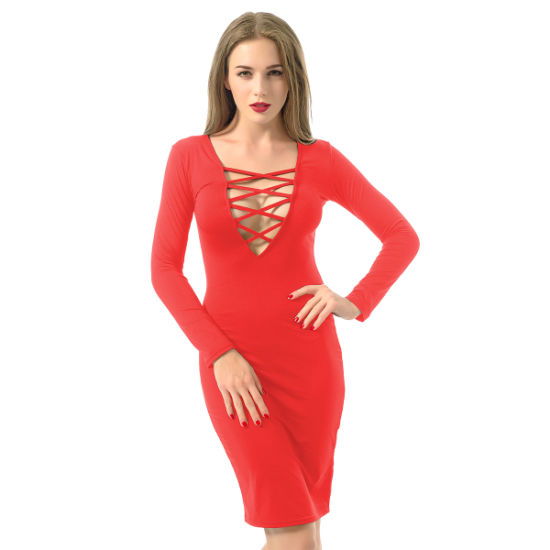 685eb334a91 2016 Long Sleeve Knee Length Open Breast Women Sexy Bandage Dress pictures    photos
