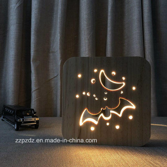 China 3d Bat Animal Shape Hollow Out Wooden Led Table Lamp China