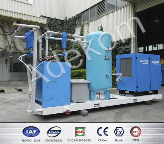 Skid-Mounted with Air Tank Compressed Screw Air Compressor System pictures & photos