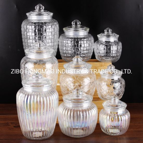 600ml 1200ml 2200ml Round Vertical Ribbed Glass Candy Jar Jam Jar Cookie Jar Storage Jar