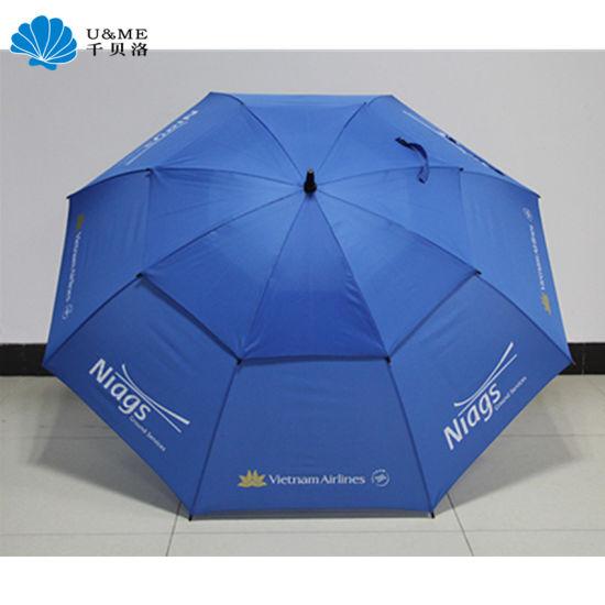 Custom Outdoor Beach Straight Large Size Double Layer Canopy Golf Umbrella