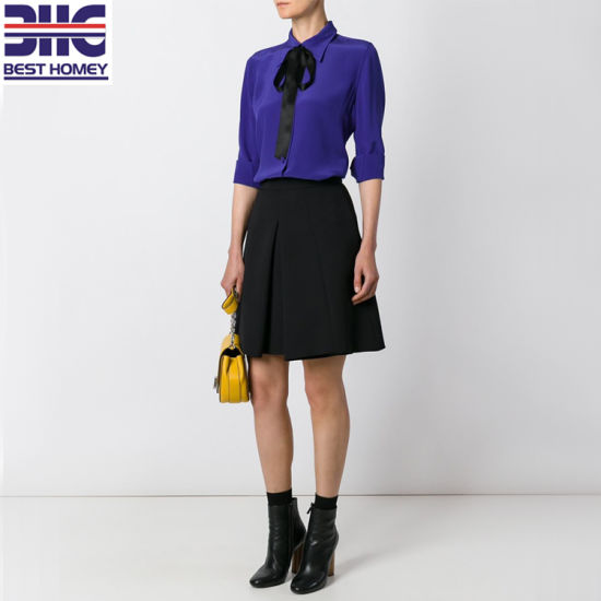 c152132534d3e Long Sleeve Tops Silk Crepe De Chine Ladies Shirts Pussy Bow Tie Blouses  for Womens