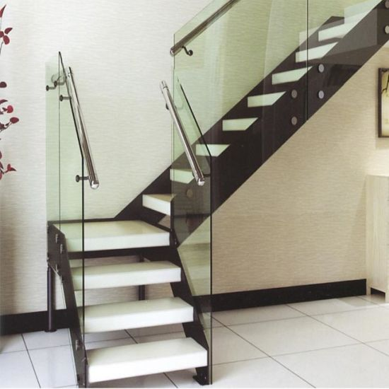Home Interior Wood Floating Staircase DIY Prefabricated Acrylic Wooden  Tread Steel Floating Stairs