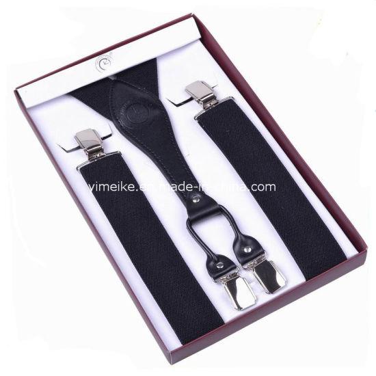 Top Quality Jacquard Stripes Leather Clip Suspenders for Men (BD1032)