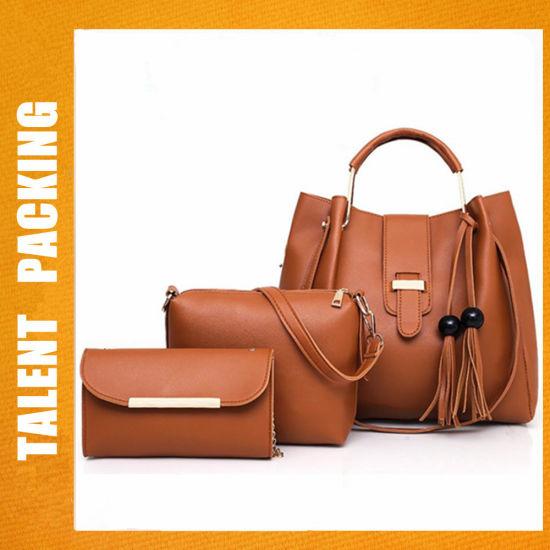 58734a2dfffc China Factory PU Leather 3PCS Set Fashion Lady Female Women Tote Bag ...