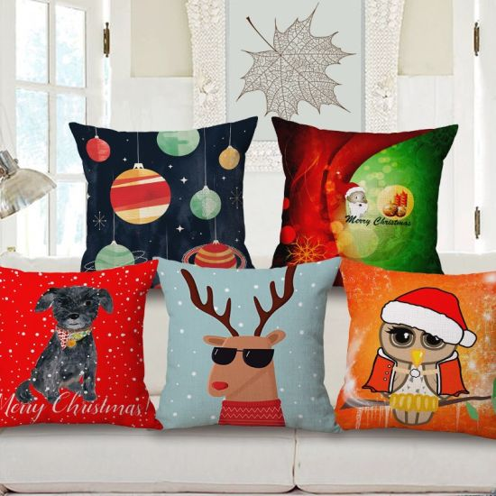 China Merry Christmas Digital Printed Cushion Pillow Covers Happy