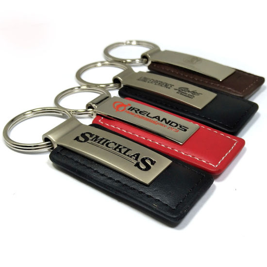 Promotional Metal PU Leather Key Chain with Key Ring