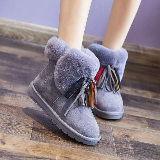 Boots Women's Boots with Real Wool and Down Autumn Winter Korean Version of Joggings Cotton Shoes Short Tube Tassel Boots