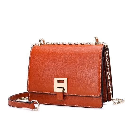 New Fashion Design Genuine Full Grain Cow Leather Women Shoulder Hand Bag