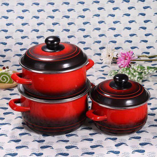 3PCS Enamel Cooking Pot Set with Decal Flower