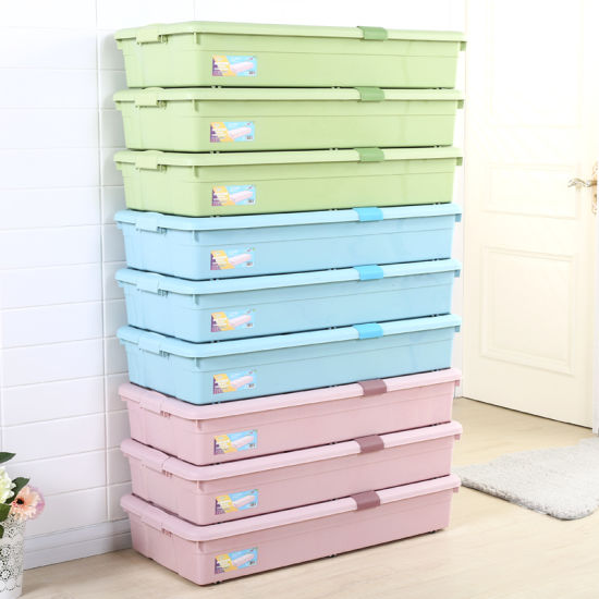 Bedroom Organizer, Thin Storage Box, Latch Wheeled Underbed Box/Plastic Box