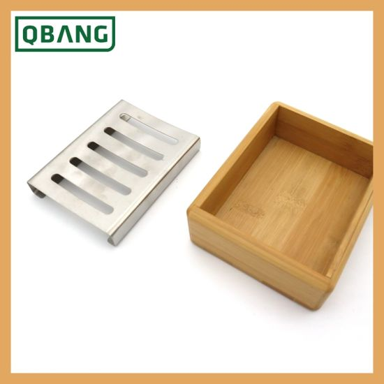 Wooden Soap Box Bamboo Dish Storage Container Shelf Holder Shower Plate Bathroom