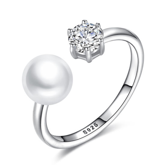 Delicate 925 Sterling Silver CZ Adjustable Freshwater Pearl Rings pictures & photos
