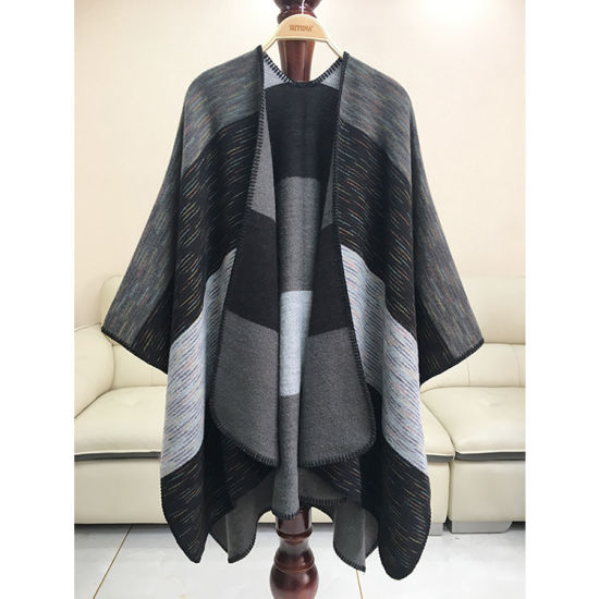 Popular Cashmere Shawls with Large Colored Strips in Stock
