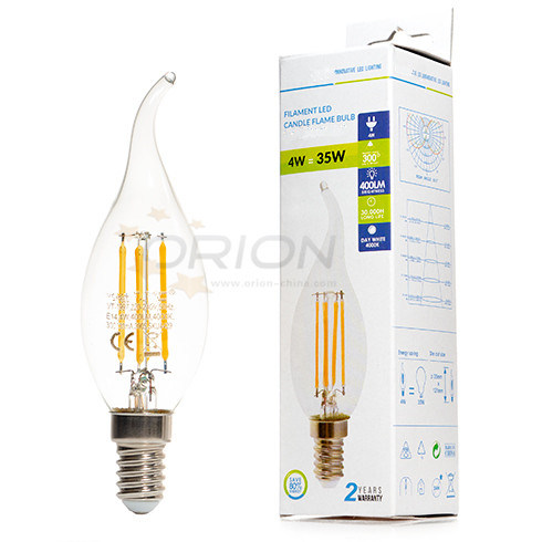 E14 E27 LED Filament Candle 4W Warm White Candle LED Lamp