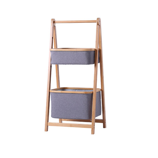 2 Tier Bamboo Home Bathroom Kitchen Storage Rack Shelf Basket