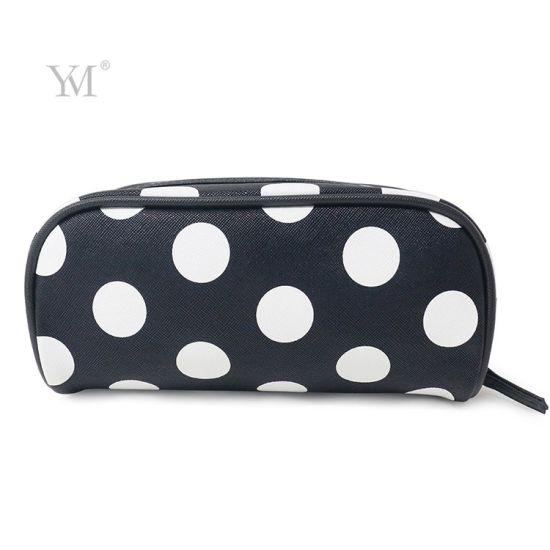 Fashionable Black White Polka DOT Make up Pouch Cosmetic Bag