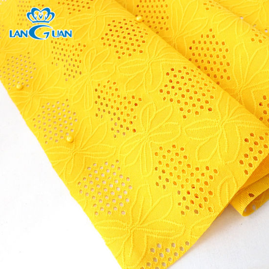 100% Polyester Knitted Yellow Beaded Lace Fabric for Garment