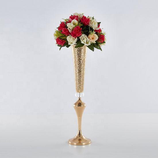 Rose Glod Long Metal Flower Vase for Celebration Decoration
