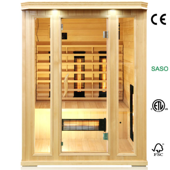 Far Infrared Sauna Made of Canada Hemlock with Glass Heater for 3 People Use, Dry Bath Sauna Room as Hot Therapy Sweating Machine for Health