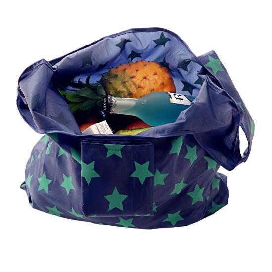 Stylish 2019 Portable Folding Tote Wholesale Promotion Nylon Shopping Bag Plastic Free Eco Shopping Bag
