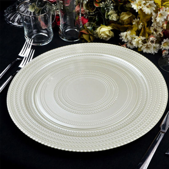 Paibee Cheap Glass Charger Wholesales Platter Party Rental Plate Dinner Plate Kitchen Accessories