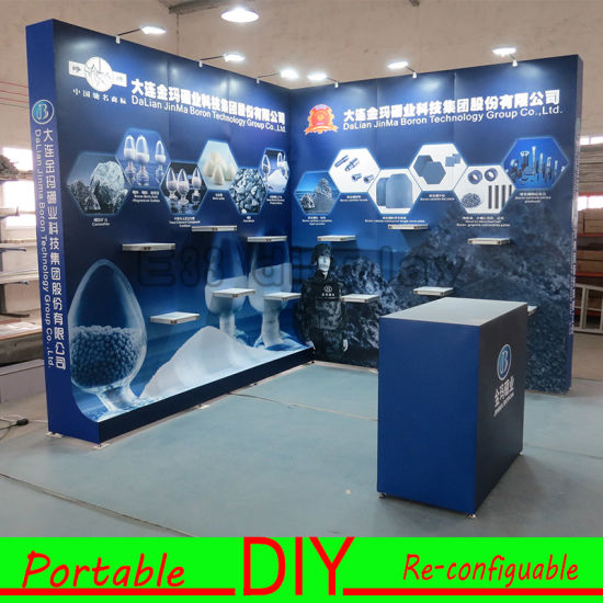 Custom Portable Modular DIY Aluminium Trade Show Exhibition Display Stand with Shelves