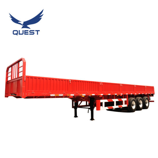 3axle 20-40FT Flatbed Truck Cargo Side Wall Semi Trailer