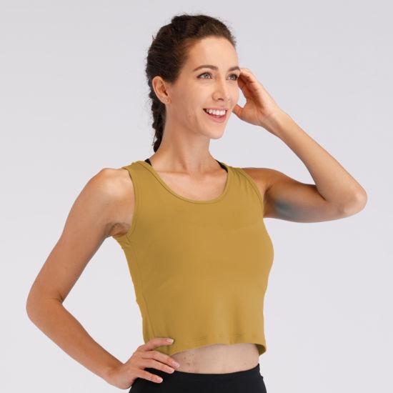 2019 Summer New Design Printing Plain Cotton Custom Blank Short T Shirt Ladies Gym Yoga Crop Top Tank Top Women with Your Logo