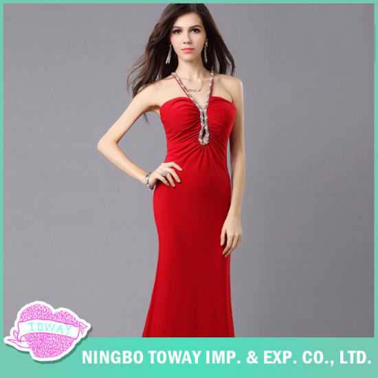 China Buy Simple Latest Ladies Designer Formal Red Evening Gowns