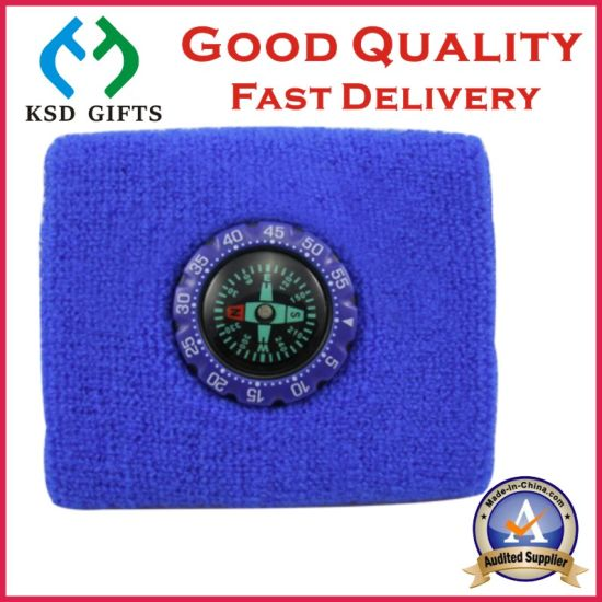 Good Quality Cotton Terry Wrist Sweatband for Promotion with Compass