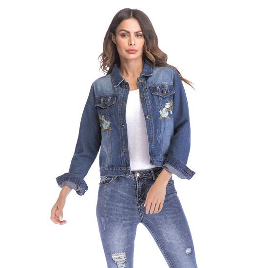 508c8e050087 China Embroidered Denim Jacket Short Style Long Sleeved Blouse for ...