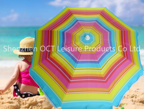 Thick Cover Beach Umbrella With Stripe Design Silver Coating Oct Buapu03