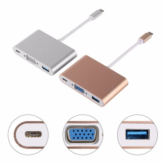 USB 3.1 Type C to VGA Type C USB3.0 Charger Adapter Cable for MacBook
