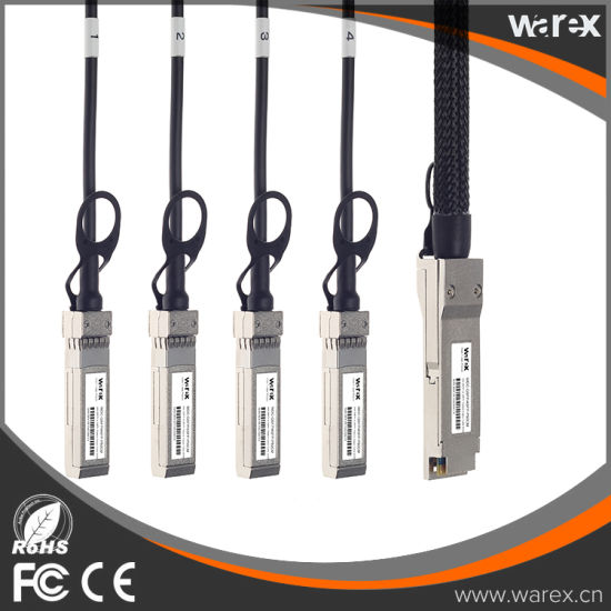 Fiber Cable Compatible 40GBASE-CR4 QSFP to 4 10GBASE-CU Direct Attach Copper Breakout Cable 50cm pictures & photos