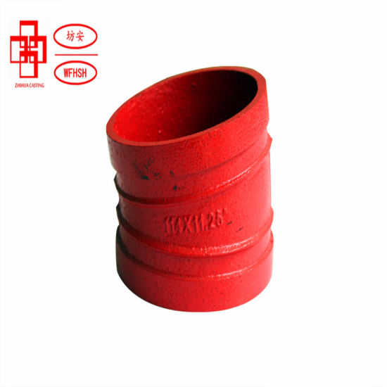 """Ductile Iron ASTM A536 Grade 65-45-12 Grooved Pipe Fittings Black Grooved Elbow 11.25 Deg 4"""" 114 Standard Radius for Fire Protection System"""