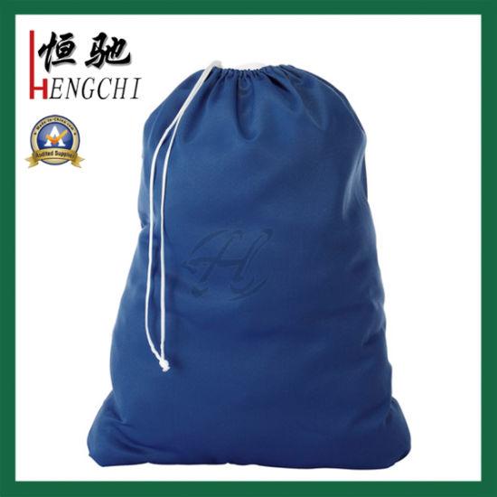 Polyester/Nylon/Oxford Cloth Drawstring Square Laundry Bag with Custom Printing