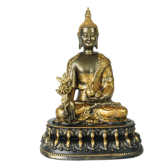Wholesale Amazon Hot Sell Resin Fengshui Golden Color Home Indoor Decor Sitting Zen Meditating Buddha Statue on Throne