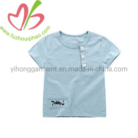 Fashion Design Linen Short Sleeves Boy T Shirts with Buttons